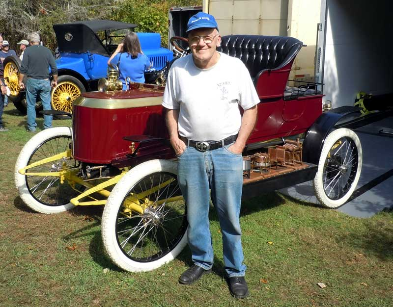 Rolly-Evans shows off his Stanley Steamer