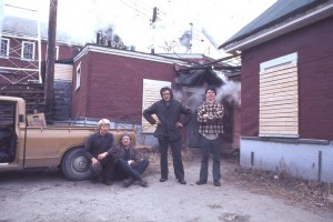 The moving crew at the mill in Stratton, ME. Jeff Berry at the left, Robert Merriam at the right middle.