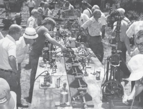 Air and steam tables are always busy with models and small engines.