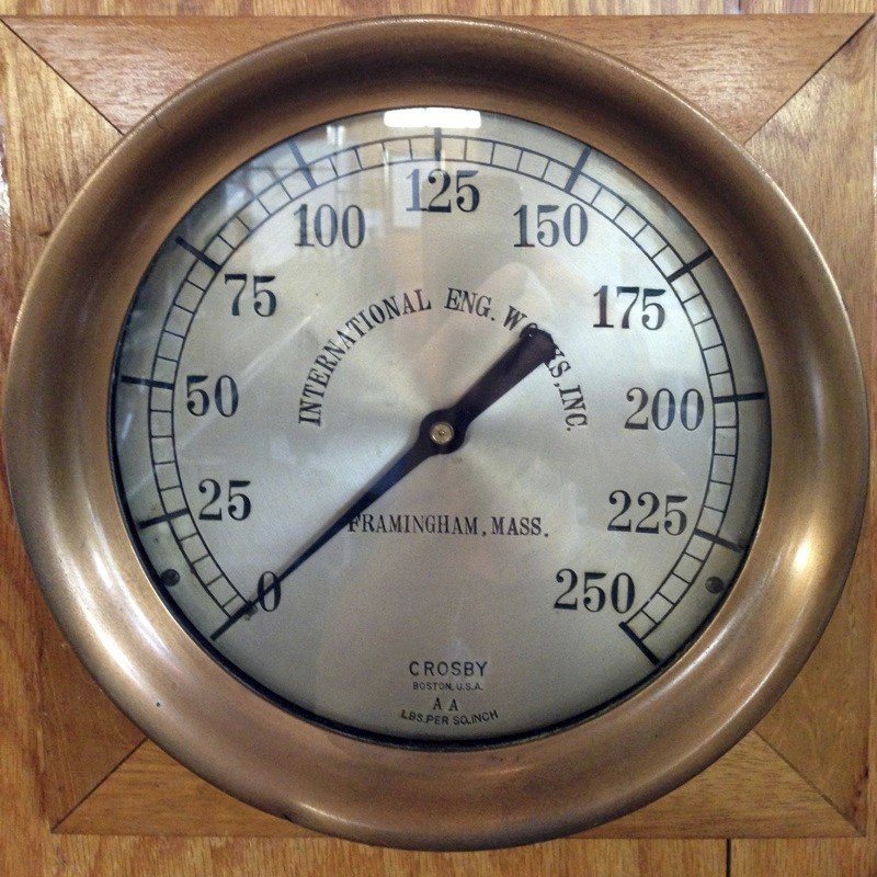"Steam pressure gauge made for International Eng. Works, Inc. labeled ""Crosby/ Boston, U.S.A./ AA"". Scale 0-250."