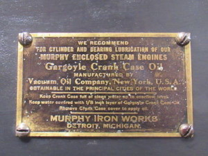 Murphy Iron Works steam engine nameplate