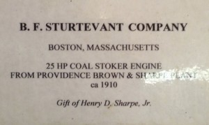 Sturtevant steam engine placard