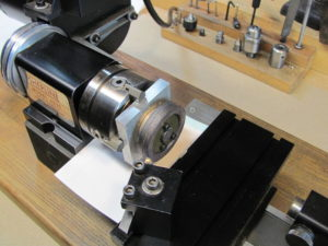Photo 4. Cast iron flywheel mounted in the jig.